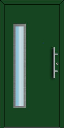Ryterna RD65 Entrance doors, green with windows, Style 112