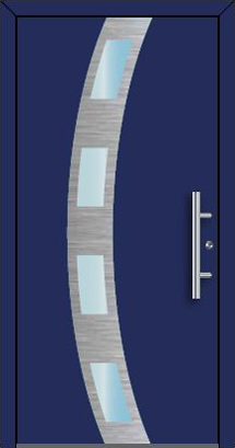Ryterna RD80 RD100 blue front entrance door with brushed aluminium decor and windows