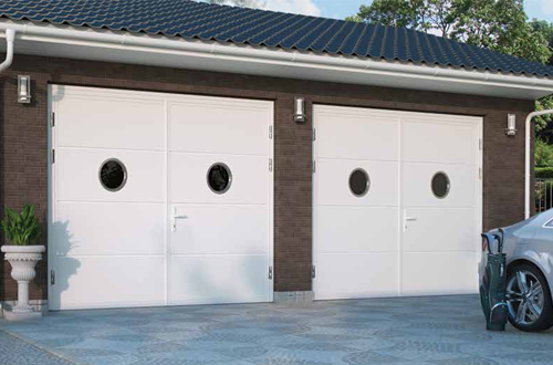 Ryterna White Side Hinged Garage Door, port hole windows, 50/50 split