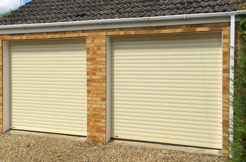 Pair of SWS Seceuroglide roller garage doors installed by The Garage Door Centre
