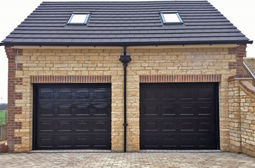Black Sectional Double Garage Doors