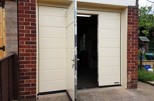 Sectional Garage Door with Inset Wicket Door