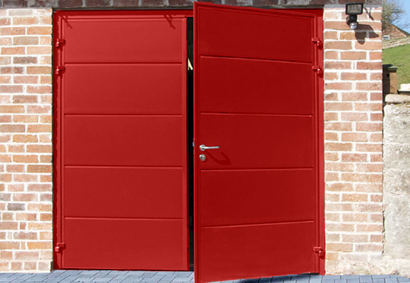 Carteck Side Hinged Garage Door in Red