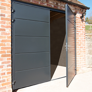 Side-hinged garage door