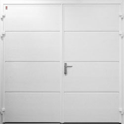 Carteck solid ribbed horizontal side hinged garage door