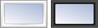 Rectangular plastic side hinged windows in Black or White
