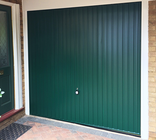 Hormann 2002 Steel Up and Over Garage Door in Moss Green