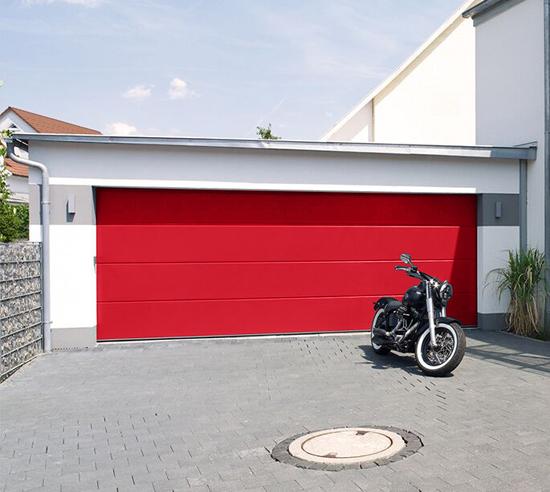 Carteck Sectional Garage Door in Blazing Red