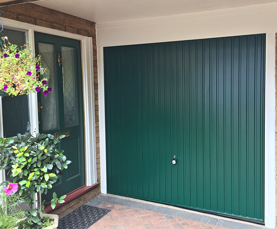 Hormann Steel Up and Over Garage Door in Moss Green