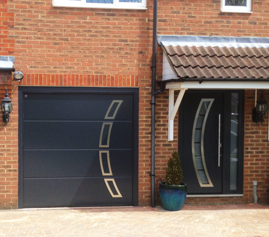 Matching Anthracite Sectional Garage and Front Entrance Door