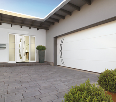 Matching White Front and Sectional Garage Doors