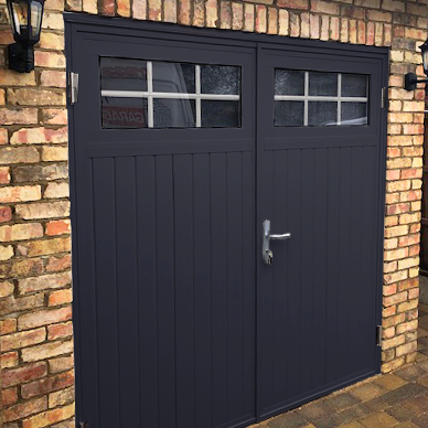 Ryterna Anthracite traditional side hinged garage door with windows