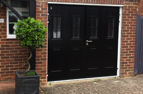 Carteck side hinged garage doors with windows