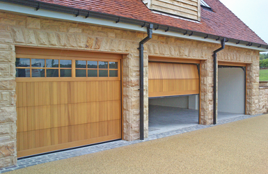 Cedarwood Timber Sectional Garage Doors with Windows