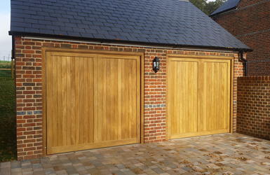 Two Single Up and Over Timber Garage Doors