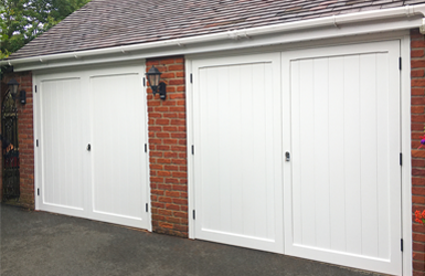Woodrite Cedar Side Hinged Garage Doors from York Range in Chalfont design