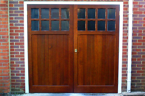 Timber side-hinged garage door