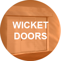 Garage doors with pedestrian access built-in Wicket Doors