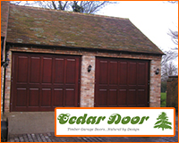 Cedar door up and over garage door