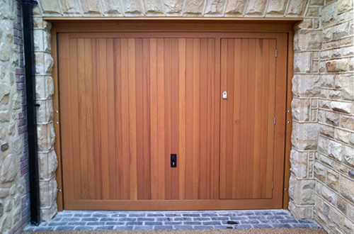 Timber Up & Over Garage Door with Pedestrian Access