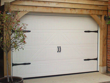 Traditional side hinged style, sectional garage door