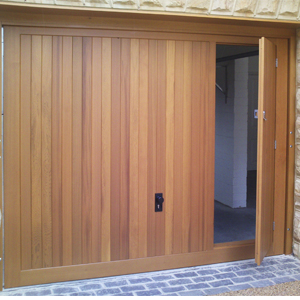 Cedar Up and Over timber garage door with pedestrian door & Garage Doors with Pedestrian Doors - Wicket Door - Hormann Cedar ...