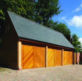 Woodrite cedarwood timber up and over garage door, Buckingham range, light oak