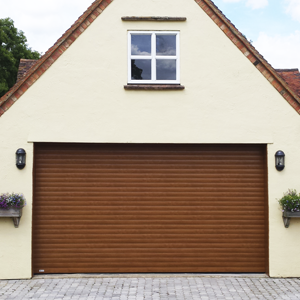 Seceuroglide roller shutter garage door with decograin finish