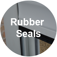 Roller shutters with rubber seals