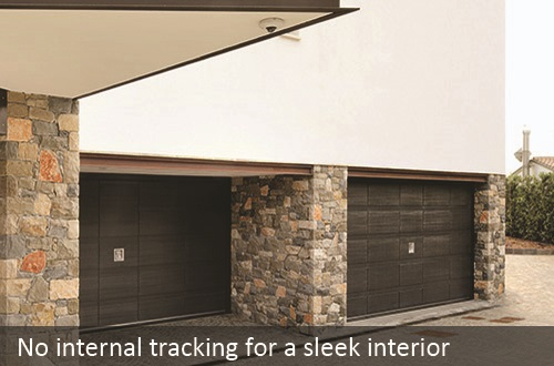 No internal tracking on Silvelox up and over and overlap garage doors