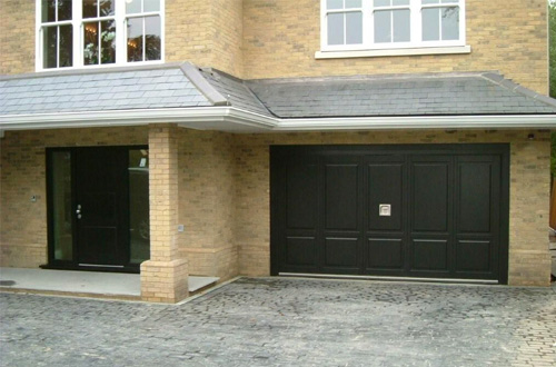 Silvelox matching black garage and front entrance doors