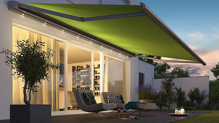 Retractable awnings with built-in lighting