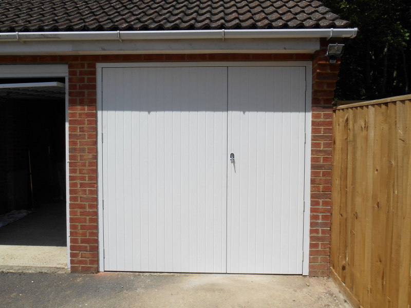 White Side hinged steel garage door