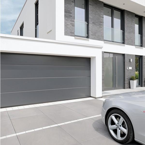 Hormann Sectional L Ribbed Garage Door In Anthracite Grey: Hormann LPU 42 L Ribbed Titan Metallic CH703 Hormann