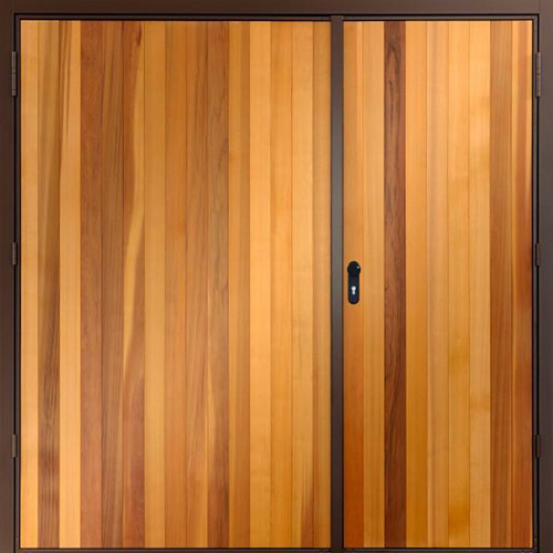 Garador vertical cedar garador side hinged timber for Cedar wood garage doors price