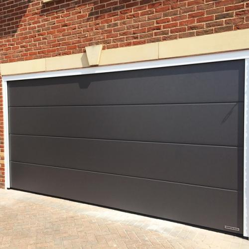Hormann Sectional L Ribbed Garage Door In Anthracite Grey: Hormann LPU67 Thermo L Ribbed Silkgrain Hormann Sectional